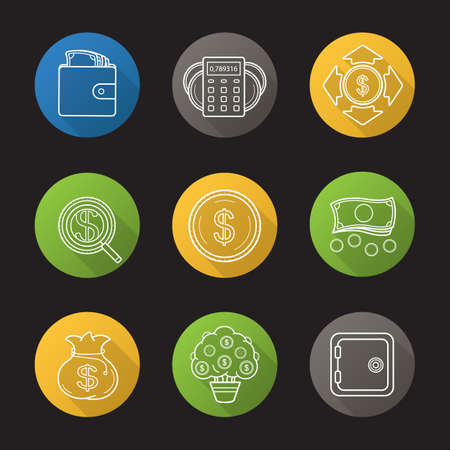 investor: Banking and finance flat linear long shadow icons set. Purse with cash, money spending calculations, investor search, dollar coins and cash stack, bank vault, money bag and tree. Vector line symbols