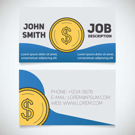 Business card print template with dollar coin logo easy edit business card print template with dollar coin logo easy edit accountant financier reheart Choice Image