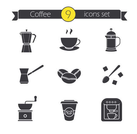 sugar cube: Coffee silhouette icons set. Espresso machine, classic coffee maker, steaming mug on plate, french press, turkish cezve, spoon with sugar cubes, hand mill. Isolated vector illustrations Illustration