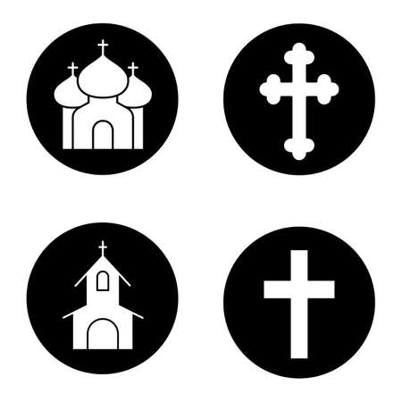cupola: Christianity religion icons set. Catholic cathedral, orthodox church, temple, Christian crucifix, cross. Vector white silhouettes illustrations in black circles