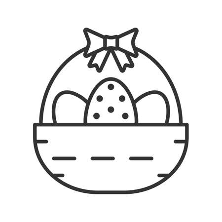 Easter basket linear icon. Thin line illustration. Basket with eggs and bow contour symbol. Vector isolated outline drawing Illustration