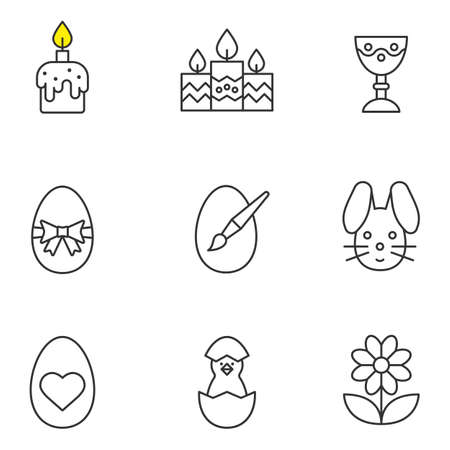 Great Easter Linear Icons Set. Candles, Easter Bunny And Eggs, Camomile,..  Royalty Free Cliparts, Vectors, And Stock Illustration. Image 74450355. Photo