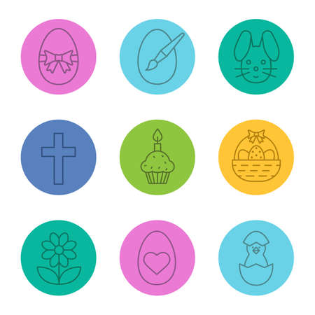Easter linear icons set. Newborn chicken, flower, Easter basket, eggs with heart shape and bow, bunny, cross. Thin line contour symbols on color circles. Vector illustrations Illustration