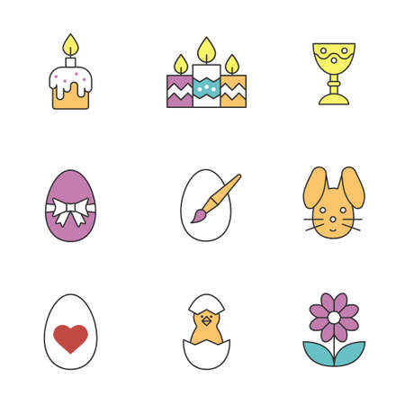 Perfect Easter Color Icons Set. Candles, Easter Bunny And Eggs, Camomile,.. Royalty  Free Cliparts, Vectors, And Stock Illustration. Image 74450359. Pictures