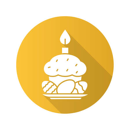 Easter eggs, cake and candle. Flat design long shadow icon. Vector silhouette symbol