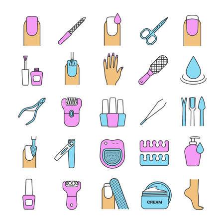 epilator: Manicure and pedicure color icons set. Nail polish, scissors, epilator, spa bath, soap, cream, tweezers, foot rasp, cuticle nipper. Isolated vector illustrations