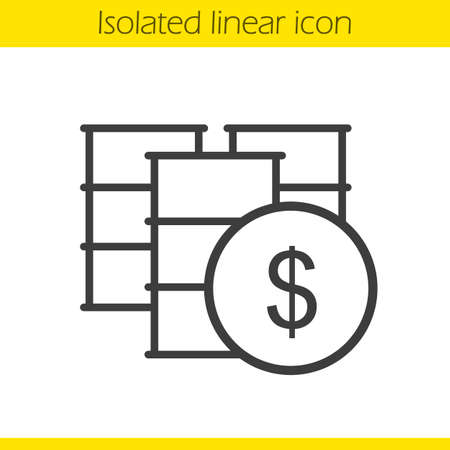 oil and gas industry: Oil barrels linear icon. Thin line illustration. Petrol trade contour symbol. Vector isolated outline drawing