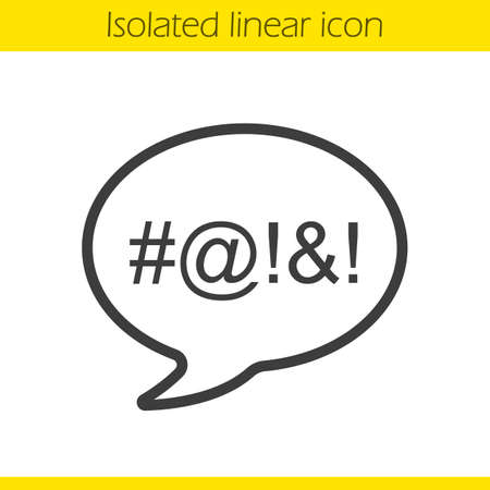 swearing: Dirty language linear icon. Cursing. Thin line illustration. Chat bubble with censored swearing words contour symbol. Vector isolated outline drawing
