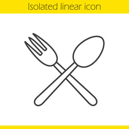eatery: Eatery linear icon. Thin line illustration. Crossed fork and spoon contour symbol. Vector isolated outline drawing