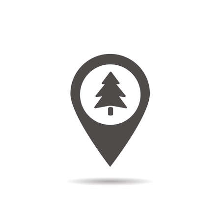 forest location icon drop shadow wood silhouette symbol fir