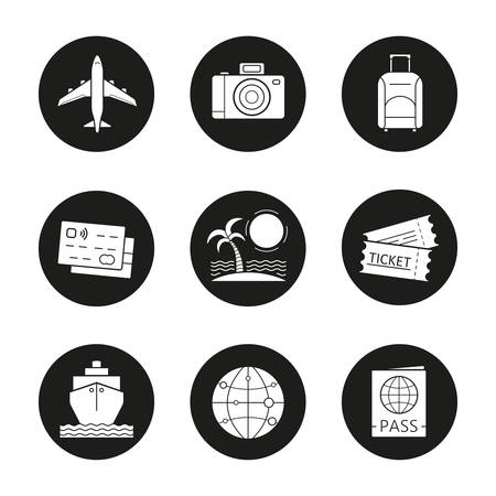 globe logo: Vacation and travel icons set. Credit cards, tropical island, globe, cruise ship, passport, airplane flight, photo camera, suitcase and tickets. Vector white silhouettes illustrations in black circles Illustration