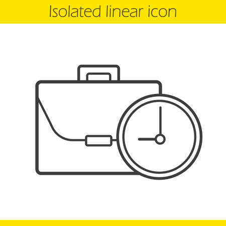workday: Work time linear icon. Working hours thin line illustration. Business briefcase with clock. Contour symbol. Vector isolated outline drawing Illustration