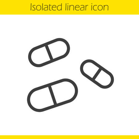 Medicine pills linear icon.