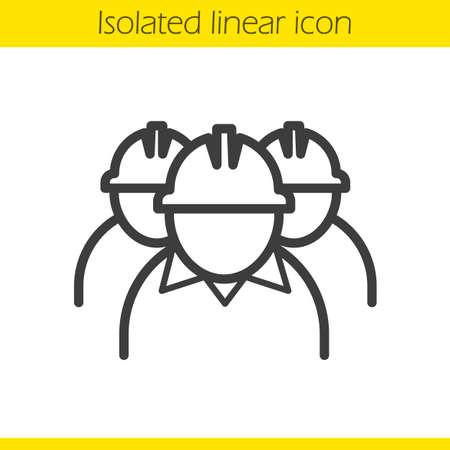 Mine workers linear icon.