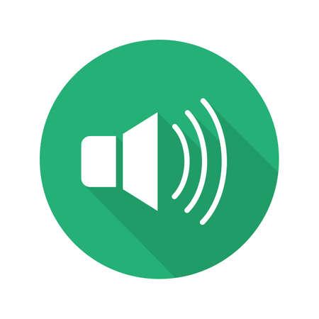 Altavoz diseño plano icono de sombra larga. Volumen de sonido del altavoz encendido. Símbolo de la silueta del vector Ilustración de vector