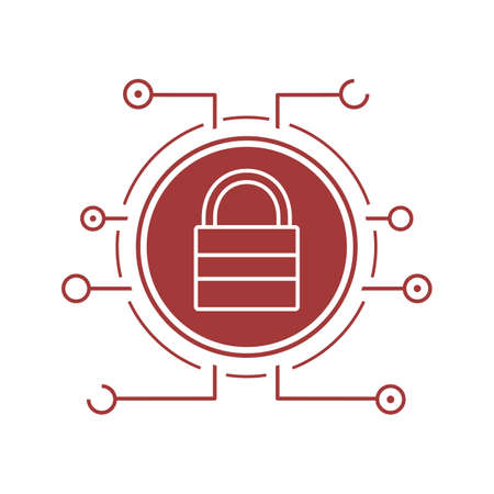 Lock icon. Cyber security silhouette symbol. Access denied. Closed padlock in microchip pathways. Negative space. Vector isolated illustration