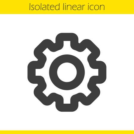Icône linéaire Cogwheel. Illustration d'épaisseur en ligne épaisse. Symbole de contour Cog. Dessin de contour isolé vectoriel