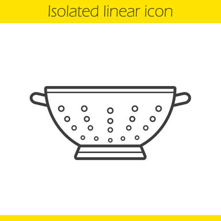 Colander linear icon. Thin line illustration. Strainer contour symbol. Vector isolated outline drawing Illustration