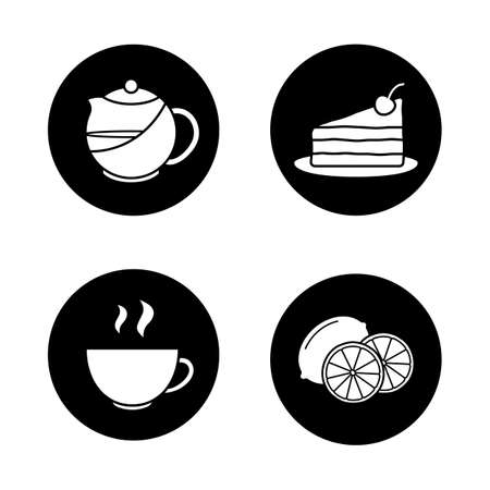 Tea icons set. Piece of cake on plate, steaming cup, cutted lemon, brewing teapot infuser. Vector white silhouettes illustrations in black circles Illustration