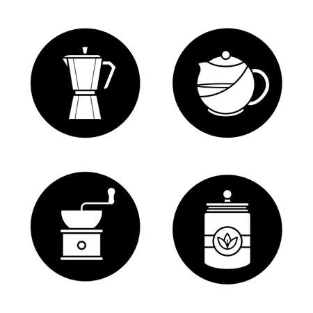 Tea and coffee icons set. Brewing teapot, classic coffee maker, vintage grinder, tea jar. Vector white silhouettes illustrations in black circles