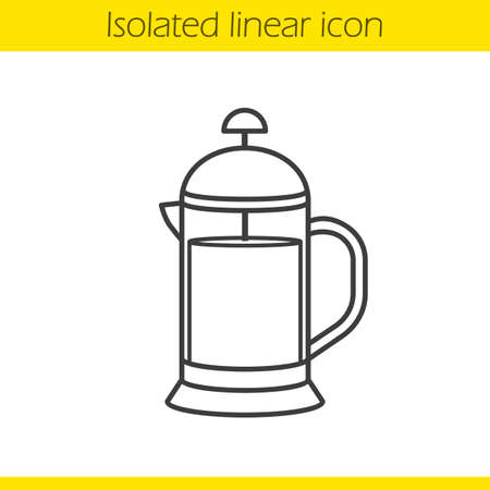 French press linear icon. Thin line illustration. Brewing tea pot. Contour symbol. Vector isolated outline drawing