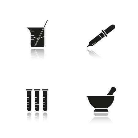Chemical laboratory drop shadow black icons set. Lab tools. Test tubes, beaker with rod and liquid, mortar and pestle, pipette. Isolated vector illustrations Illustration