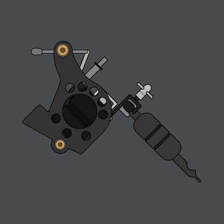 Tattoo machine. Isolated color vector illustration. Tattoo gun drawing