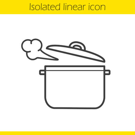 Steaming pot linear icon. Casserole. Thin line illustration. Boiling saucepan contour symbol. Vector isolated outline drawing