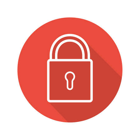 Lock flat linear long shadow icon. Closed padlock. Security. Vector line symbol