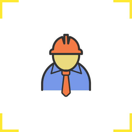 Engineer color icon. Factory chief. Architect. Isolated vector illustration
