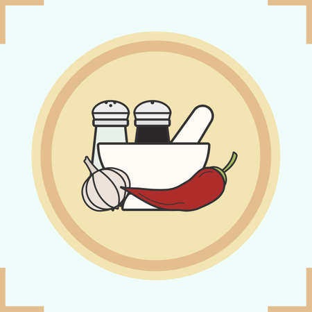 Spices color icon. Salt and pepper shakers, garlic, chili, mortar and pestle. Isolated vector illustration Illustration