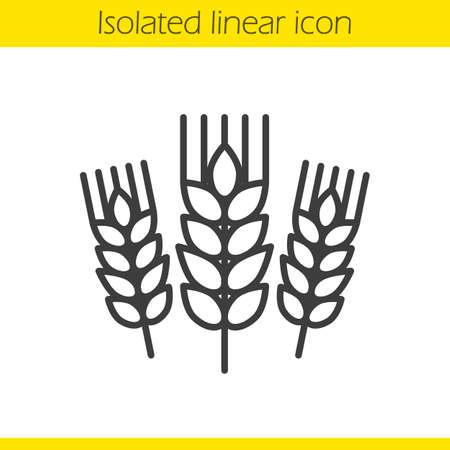 Ikona liniowa kłosy pszenicy. Ilustracja cienka linia jęczmienia. Skoki żyta kontur symbol. Wektor na białym tle zarys rysunku Ilustracje wektorowe