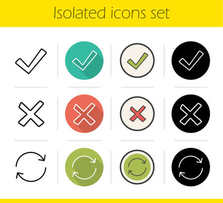 Digital icons set. Flat design, linear, black and color styles. Accept, decline and refresh buttons. Isolated vector illustrations