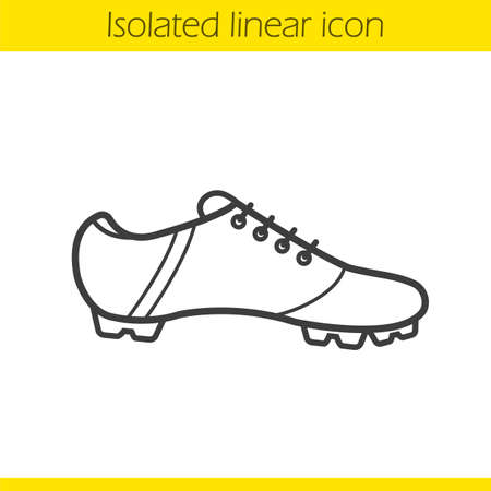 shoelace: Football boot linear icon. Thin line illustration. Soccer players shoe contour symbol. Vector isolated outline drawing