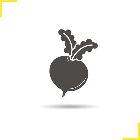 turnip: Beet root icon. Drop shadow silhouette symbol. Turnip. Negative space. Vector isolated illustration