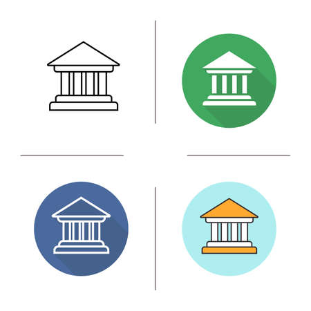 art museum: Courthouse icon. Flat design, linear and color styles. Bank building. Isolated vector illustrations