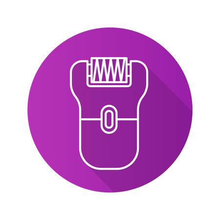 epilator: Epilator flat linear long shadow icon. Electric shaver. Vector line symbol