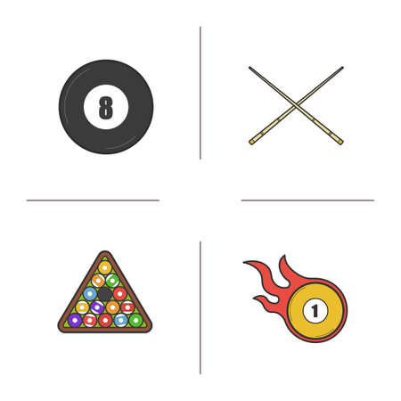 pool cues: Billiard color icons set. Pool equipment. Cuesports accessories. Eight ball, cues, ball rack and burning ball. Isolated vector illustrations