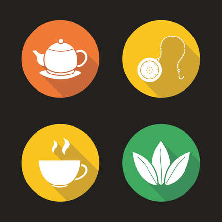 Tea flat design long shadow icons set. Steaming cup, teapot on plate, loose tea leaves and ball infuser. Vector silhouette illustration Illustration