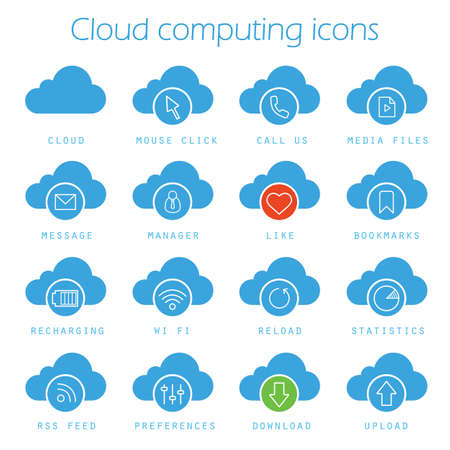 Cloud computing icons set. Web storage silhouette symbols. Mouse click, bookmarks, statistics, recharging, wifi, download and upload web hosting symbols. Vector isolated illustration Illustration