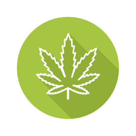 Marijuana leaf flat linear long shadow icon. Cannabis weed line symbol. Vector