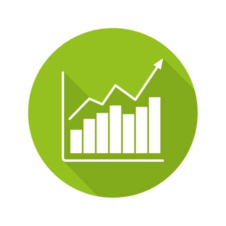 Marktgroei grafiek platte ontwerp lange schaduw pictogram. Diagram. Bedrijfsstatistieken grafiek. Vector silhouet symbool