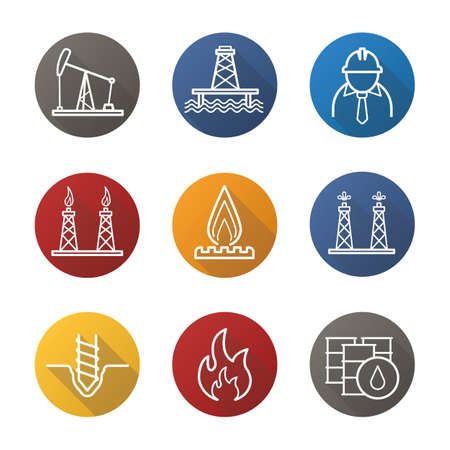 oil and gas industry: Oil industry flat linear long shadow icons set. Pump jack, barrels, drilling bit, gas and fuel production platforms, flammable sign, industrial worker, offshore well. Vector line illustration