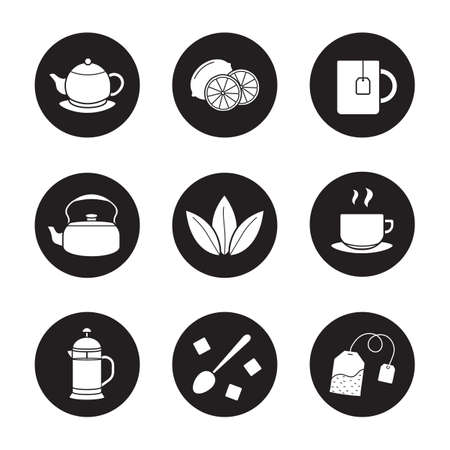Tea icons set. Cutted lemon, steaming cup on plate, brewer, teapot, loose tea leaves, teabag, refined sugar cubes with spoon, kettle, mug. Vector white silhouettes illustrations in black circles Illustration
