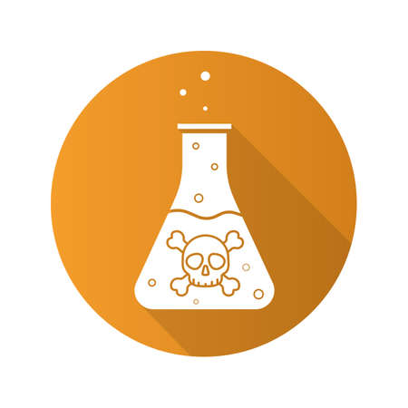 Poison bottle flat design long shadow icon. Danger liquid. Vector silhouette symbol Illustration
