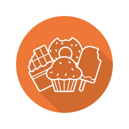 glazed: Sweets flat linear long shadow icon. Confectionery. Chocolate bar, doughnut, muffin with raisins, ice cream. Vector line symbol Illustration