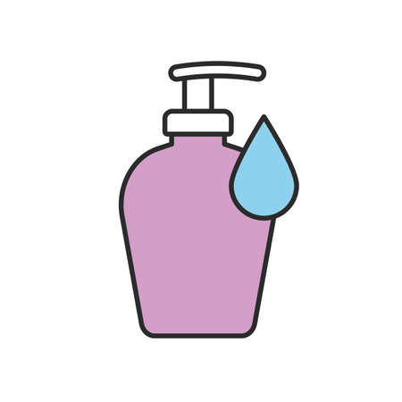 intimate: Liquid soap bottle color icon. Shower gel. Isolated vector illustration Illustration