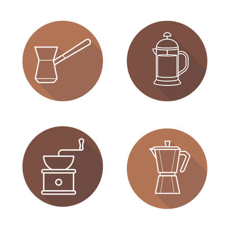 Coffee brewing equipment. Flat linear long shadow icons set. Moka pot, turkish cezve, grinder, french press. Vector line illustration. Illustration
