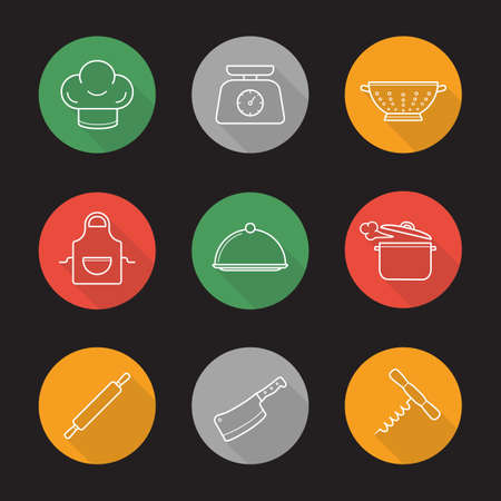 Kitchenware flat linear long shadow icons set. Chefs hat, kitchen food scales, colander, apron, covered dish, steaming stew pot, rolling pin, cleaver, corkscrew. Vector line illustration