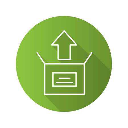 Unboxing flat linear long shadow icon. Box unpacking. Vector line symbol